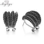 Mytys Brand New Design Black Marcasite Earrings for Women Dignified Antique Earrings Retro Design Vintage <b>Jewelry</b> Gift CE354