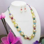 Shining Accessories Chain Glass Crystal Beads Necklaces&Earrings Sets Women Girls Christmas Gifts 18inch <b>Jewelry</b> <b>Making</b> ball