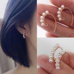 PINJEAS new <b>handmade</b> gold fillied stud pearl long gift earrings for women birthday minimalist earrings fashion <b>jewelry</b>