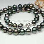 9-10mm Black pearl necklace 18inch DIY women beautiful <b>jewelry</b> <b>making</b> design wholesale