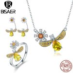 BISAER 925 Sterling <b>Silver</b> Waterdrop Yellow CZ Stone Popular Bees Wish Jewelry Set for Women Dazzling Luxury <b>Silver</b> Jewelry