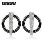 2018 New Design Earrings Black White Round Ceramic With Shining Crystal For Women Girls Earring <b>Wedding</b> Party Fashion <b>Jewelry</b>
