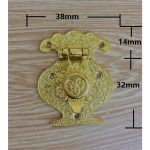 Yellow Alloy Wooden <b>Jewellery</b> Box Vase Buckle Metal Box Hasp Pattern Latch Lock <b>Decorative</b> Antique Vintage,38x46mm,8Pcs