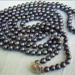 Hot sale 7-8mm Black pearl necklace 55inch women <b>jewelry</b> <b>making</b> design wholesale and retail