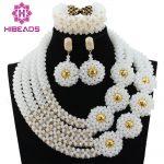 Fashion Bead White Bold Statement Necklace Set <b>Handmade</b> Crystal Beaded Women Bridal <b>Jewelry</b> Set Free Shipping ABL249