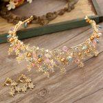 Jonnafe Vintage Gold Leaf Bridal Crown <b>Handmade</b> Tiara with Earrings Wedding Hair Accessories Women Tiaras Hair <b>Jewelry</b> G316