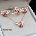Natural garnet set 925 sterling <b>silver</b> wholesale jewelry small gift natural gemstone