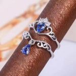 Natural tanzanite gem Ring Natural gemstone Ring 925 <b>sterling</b> <b>silver</b> Stylish elegant two wears Crown water drop women <b>Jewelry</b>