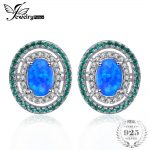 Jewelrypalace Ocean Star 0.5ct Created Black Opal Nano Russian Simulated Emerald Halo Studs <b>Earrings</b> 925 Sterling <b>Silver</b> Jewelry