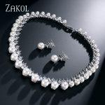 ZAKOL Trendy Imitation Pearl Bridal Wedding <b>Jewelry</b> Sets AAA Cubic Zircon Earrings <b>Necklace</b> Set For Women Factory P[rice FSSP024