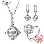 925 <b>Silver</b> Jewelry Sets Drop <b>Earrings</b> For Women Fashion Woman Pendant Necklace Zircon Heart Rings Bijouterie Set For Engagement