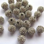 <b>Antique</b> Silver micro pave bling round spacer bead Round Hematite Gold gunmetal Finding 20pcs 6-14mm