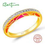 SANTUZZA Silver Ring For Women Authentic 100% 925 Sterling Silver Gold Color Sparkling CZ Fashion Female <b>Jewelry</b> Enamel <b>Handmade</b>