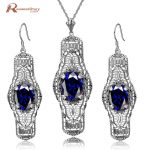 Brand 2017 Fashion Dark Blue Rhinestone Crystal Real 925 Sterling <b>Silver</b> Jewelry Sets For Women Handmade Pendants <b>Earrings</b>