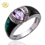 Hutang Stone <b>Jewelry</b> 100% Natural Amethyst & Abalone shell & White Topaz Solid 925 Sterling <b>Silver</b> Ring Gemstone Fine <b>Jewelry</b>