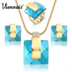 Viennois Gold Color Blue Stone Square Rhinestone Earrings Necklace <b>Jewelry</b> Set Wedding Party New Women <b>Jewelry</b>