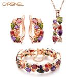 CARSINEL Trendy Zircon Colorful Mona Lisa <b>Jewelry</b> Sets Rose Gold-color Pendent Necklace Hoop Earrings Ring Bridal Sets