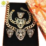 Cool Leopard Head Bracelet Earrings Ring <b>Necklace</b> Set For Women Trendy Gold Color Costume African <b>Jewelry</b> Sets+Gift Boxes