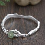 FNJ 925 <b>Silver</b> Flower <b>Bracelet</b> for Women Jewelry Hetian Jade Bangle 100% Original S990 Sterling <b>silver</b> <b>Bracelets</b>