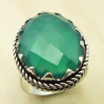 COWORKER'S Ring, GREEN ONYX Silver Plated Fashion <b>Jewelry</b> Size US 6 <b>ANTIQUE</b> LOOK India <b>Jewelry</b>