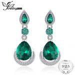 JewelryPalace Luxury 14.38ct Created Emerald Water Drop <b>Earrings</b> Genuine 925 Sterling <b>Silver</b> Fine Jewelry Women Vintage <b>Earrings</b>