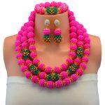 Gorgeous Fuchsia Pink African Beads <b>Jewelry</b> Set <b>Handmade</b> Plastic Balls Nigerian Wedding Beads Necklace <b>Jewelry</b> Set Bride