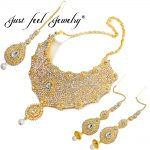 JUST FEEL New India Dubai Gold Color <b>Jewelry</b> Sets Big Choker <b>Necklace</b> Earrings Rings Middle East African Bridal Wedding Gifts