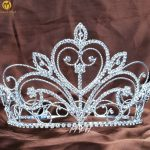 Floral Flower Beauty Pageant Tiara Crown Clear Austrian Rhinestone Large Wedding Bridal Women Hair <b>Jewelry</b> Party Prom