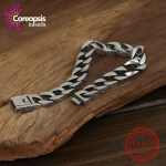 Coreopsi Thai <b>Silver</b> Genuine 925 <b>Silver</b> Mens Jewelry <b>Bracelet</b> For Men Retro Thai <b>silver</b> original ring buckle Male Rough <b>bracelet</b>