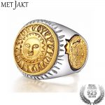 MetJakt 925 <b>Sterling</b> <b>Silver</b> Men Ring Gold Color Sun God Smile Adjustable Size Vintage Punk Handmade Personality <b>Jewelry</b>