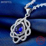 Ocean Heart Sterling <b>Silver</b> <b>Necklace</b> Charm AAAA Blue Zircon Pendant <b>Necklace</b> 925 <b>Silver</b> Luxury Woman Jewelry