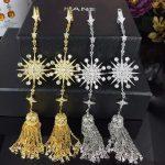 Designer Fashion 925 <b>Sterling</b> <b>Silver</b> <b>Jewelry</b> 3A Cubic Zirconia Party Long Earring