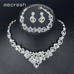 Mecresh Heart Crystal Wedding Bridal <b>Jewelry</b> Sets Silver Color Rhinestone Wedding <b>Jewelry</b> Necklace Sets for Women TL310+MSL285