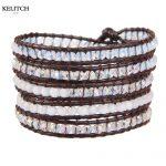 KELITCH <b>Jewelry</b> Vintage Brown White Crystal Beaded <b>Handmade</b> Beach Summer Bracelet with Card Box Packs Drop Customized Style