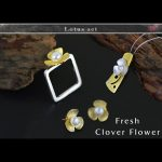 Lotus Fun Moment Real 925 Sterling <b>Silver</b> Natural Pearl Handmade Fashion Jewelry Square Fresh Clover Flower Jewelry Set Bijoux