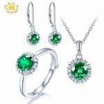 Hutang Natural May Birthstone Created Emerald Solid 925 <b>Sterling</b> <b>Silver</b> Ring Pendant Earrings Gemstone <b>Jewelry</b> Sets Presents