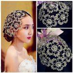 Vintage Silver Prom Pageant Round Crown Rhinestone Flower Bridal Hair <b>Jewelry</b> Bridal Headpiece Tiara <b>Wedding</b> Hair Accessories