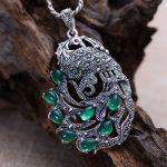 Black <b>silver</b> <b>jewelry</b> wholesale 925 <b>sterling</b> <b>silver</b> <b>jewelry</b> inlaid chalcedony Marcasite female peacock Pendant 017961w