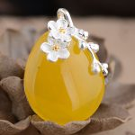 FNJ 925 Silver Flower Pendant 100% Pure S925 Solid Thai Silver Round Yellow Chalcedony Pendants for Men <b>Jewelry</b> <b>Making</b>