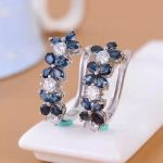 natural sapphire stone stud earrings s925 <b>silver</b> Natural gemstone earring women fashion Flowers stud earring <b>jewelry</b> for party