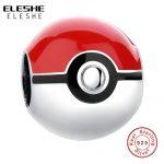 Real 925 Sterling Silver Pikachu Elf Bead Pokemon Ash Ball Charm Fit Original ELESHE Bracelet Authentic <b>Jewelry</b> Accessories