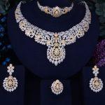 GODKI Flower Leaf Luxury Women Nigerian Wedding Naija Bride Cubic Zirconia Necklace Dubai 4PCS Dress <b>Jewelry</b> Set