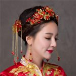Retro Bridal Wedding Hair <b>Jewelry</b> Sets <b>Handmade</b> Red Beaded Headpiece Hair Sticks with Hook Earrings Women Costume Hairwear Gifts