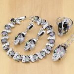 Mystic Rainbow Fire Cubic Zirconia Jewelry Sets <b>Silver</b> 925 Jewelry Decorations for women Earrings/Pendant/Necklace/Ring/<b>Bracelet</b>