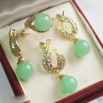 Women's Wedding <b>Jewelry</b> Fashion 12mm Green gem Pendant Necklace Earrings Ring Set silver mujer moda