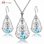 New Vintage Women Jewelry Sets 925 Sterling <b>Silver</b> Blue Rhinestone Crystal <b>Earrings</b>/Pendant Nigerian Wedding African Jewelry