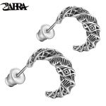 ZABRA Real 925 Sterling <b>Silver</b> Vintage Moon Earrings For Men Retro Black Process Male Stud Earring Party Pierced <b>Jewelry</b>
