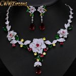 CWWZircons Luxury Micro Pave Cubic Zirconia Multicolour Big Flower Women Wedding Costume <b>Necklace</b> <b>Jewelry</b> Set For Brides T232