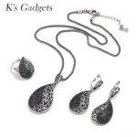 K'S Gadgets Luxury Pave Black Zirconia Crystal Jewelry Set Vintage <b>Silver</b> Teardrop Necklace <b>Earrings</b> Ring Jewellery Sets