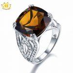 Hutang Huge Natural Smoky Quartz White Topaz Cocktail Ring Solid 925 Sterling <b>Silver</b> Women's Gift Gemstone Fine <b>Jewelry</b> New